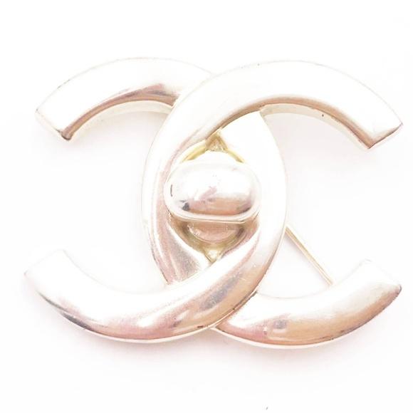 ca5d0dec7a34 CHANEL Jewelry   Vintage Silver Turnlock Cc Brooch   Poshmark